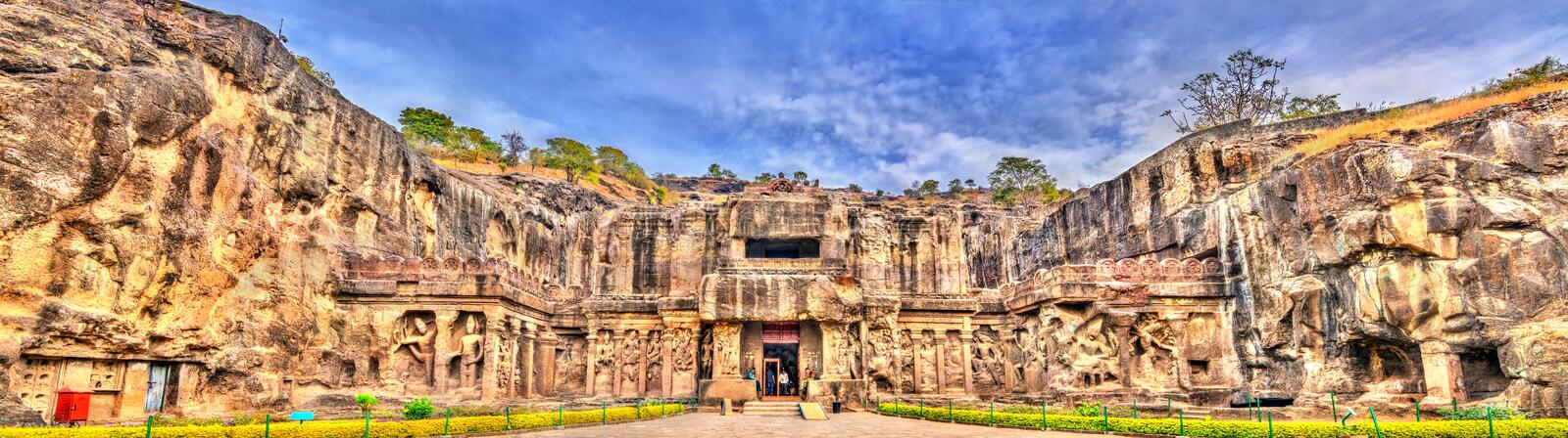The Kailasa temple, the biggest temple at Ellora Caves. UNESCO world heritage site in Maharashtra, India. The Kailasa temple, the largest temple at Ellora Caves stock image