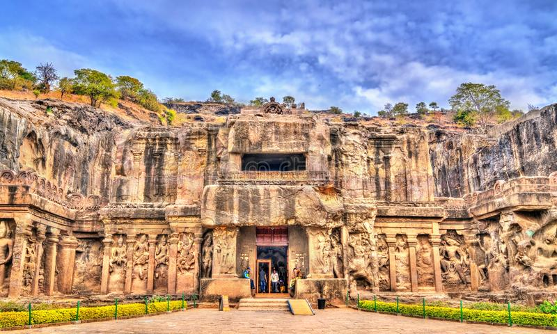 The Kailasa temple, the biggest temple at Ellora Caves. UNESCO world heritage site in Maharashtra, India. The Kailasa temple, the largest temple at Ellora Caves royalty free stock image