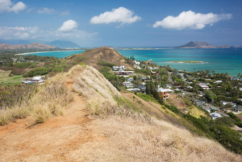 Kailua et la traînée de boîtes à pilules de Lanikai images stock