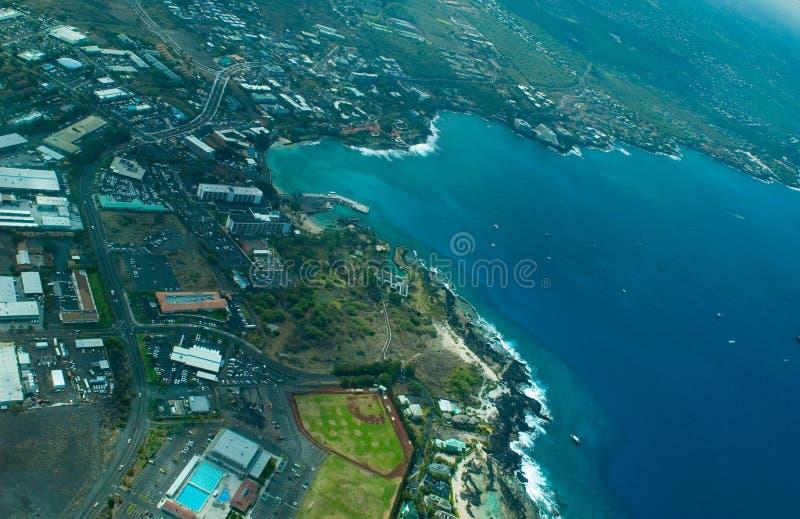 Kailua-Kona, Big Island aerial shot stock image