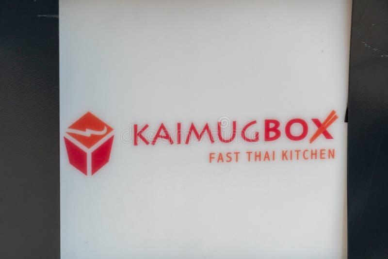 Kaimug Box Thai restaurant logo stock photos