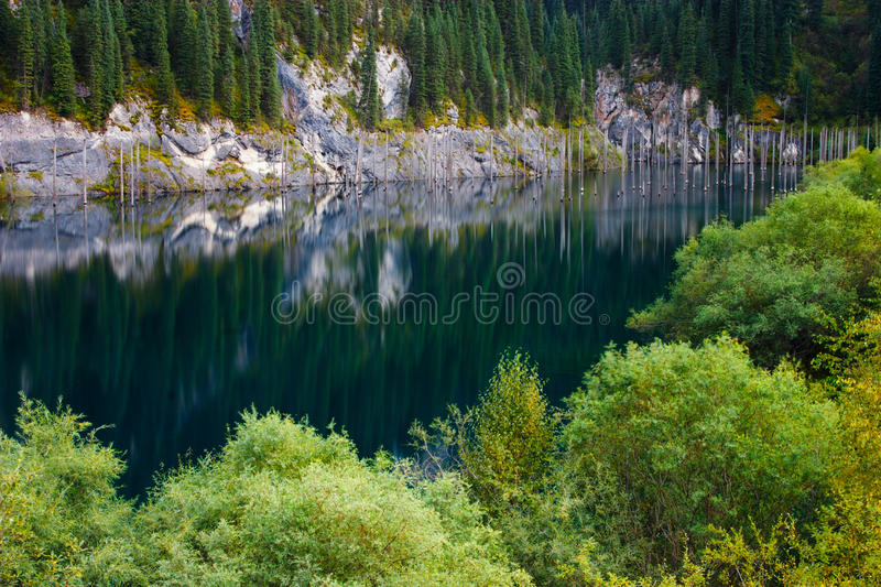 Kaindy Lake in Tien Shan mountain. Kazakhstan. Reflections on water royalty free stock images