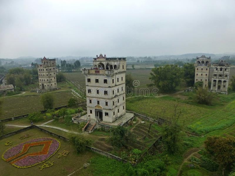 The Kaiping Diaolou (watchtowers) in Guangdong province in China. The Kaiping Diaolou (watchtowers) are fortified multi-storey towers generally made of stock photo