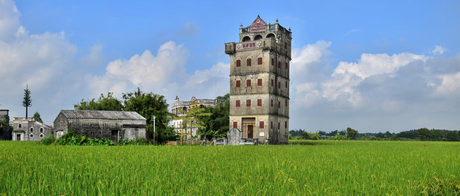 The Kaiping Diaolou watchtowers in Guangdong province in China. Are fortified multi-storey towers served mainly as protection against forays by bandits, a few stock photography