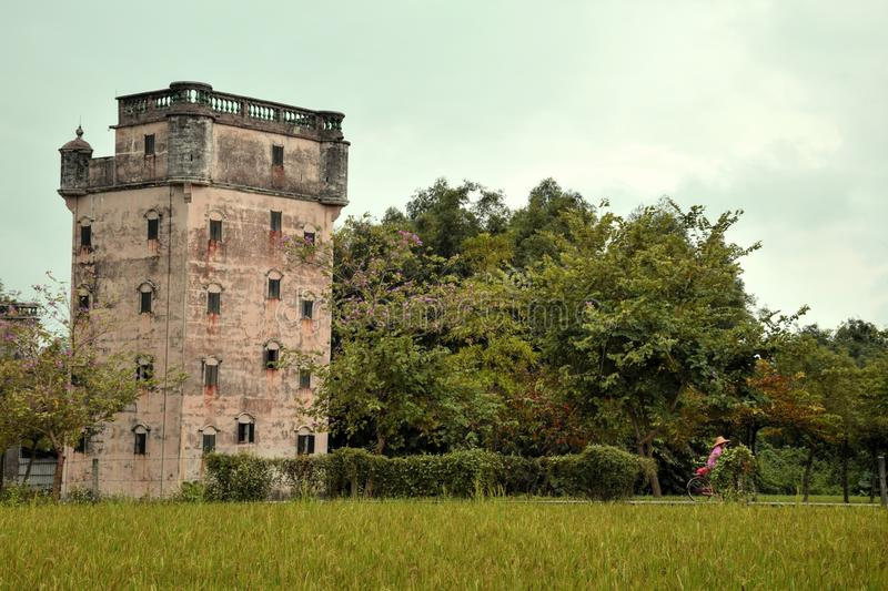 The Kaiping Diaolou watchtowers in Guangdong province in China. Are fortified multi-storey towers served mainly as protection against forays by bandits, a few stock photos
