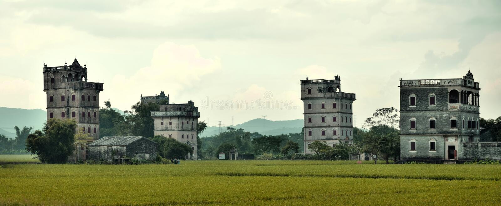 The Kaiping Diaolou watchtowers in Guangdong province in China. Are fortified multi-storey towers served mainly as protection against forays by bandits, a few royalty free stock photos