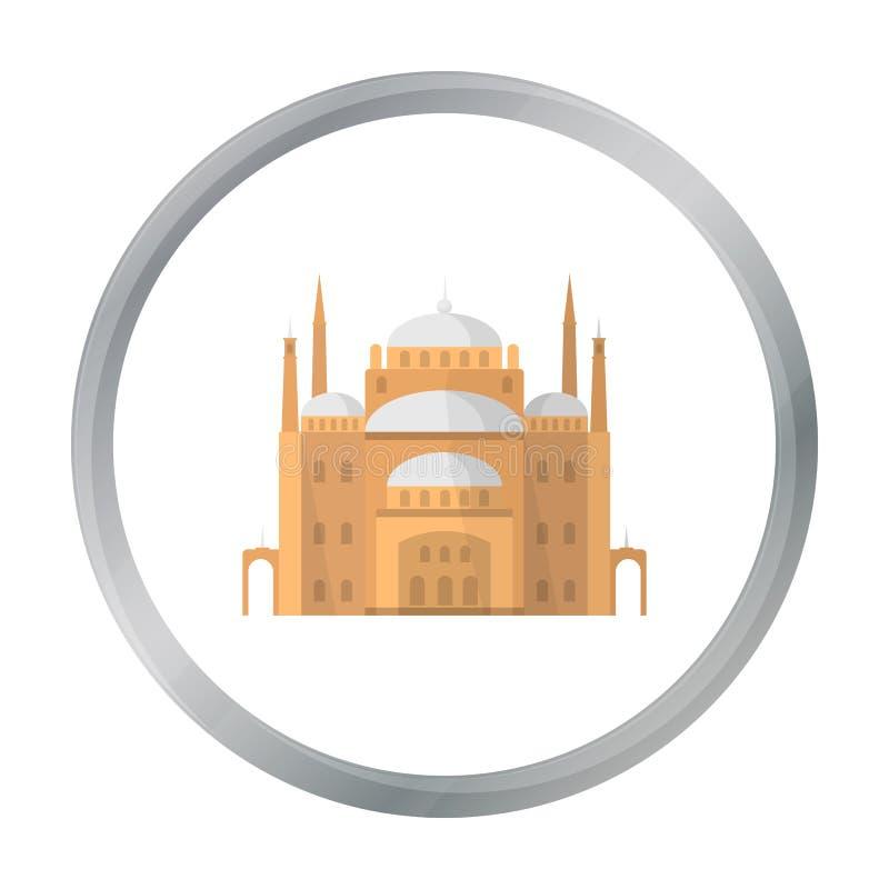 Kair cytadeli ikona w kreskówka stylu odizolowywającym na białym tle Antycznego Egipt symbolu zapasu wektoru ilustracja ilustracja wektor