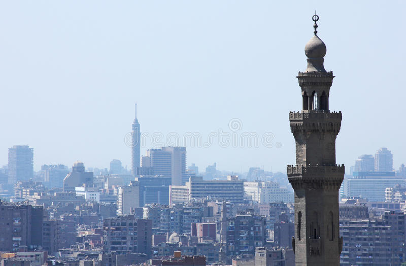Kair wierza z sułtanu Hassan minaretem fotografia stock