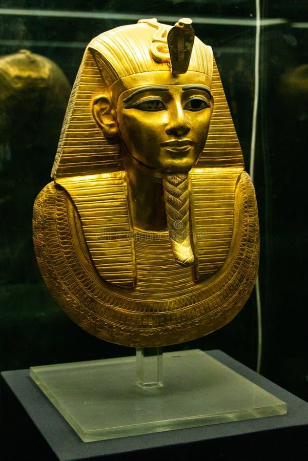KAIRO, ÄGYPTEN 25 05 Pharao-Maske 2018 in ägyptisches Museums-Kairo-Hauptanziehungskraft stockbild