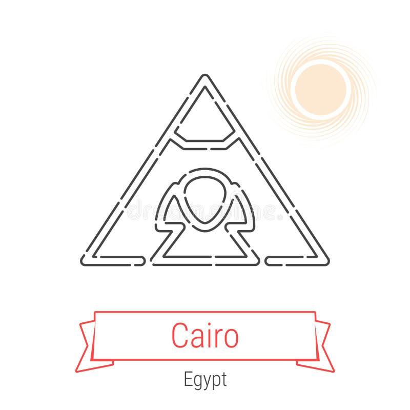 Kairo Egypten vektorlinje symbol royaltyfri illustrationer