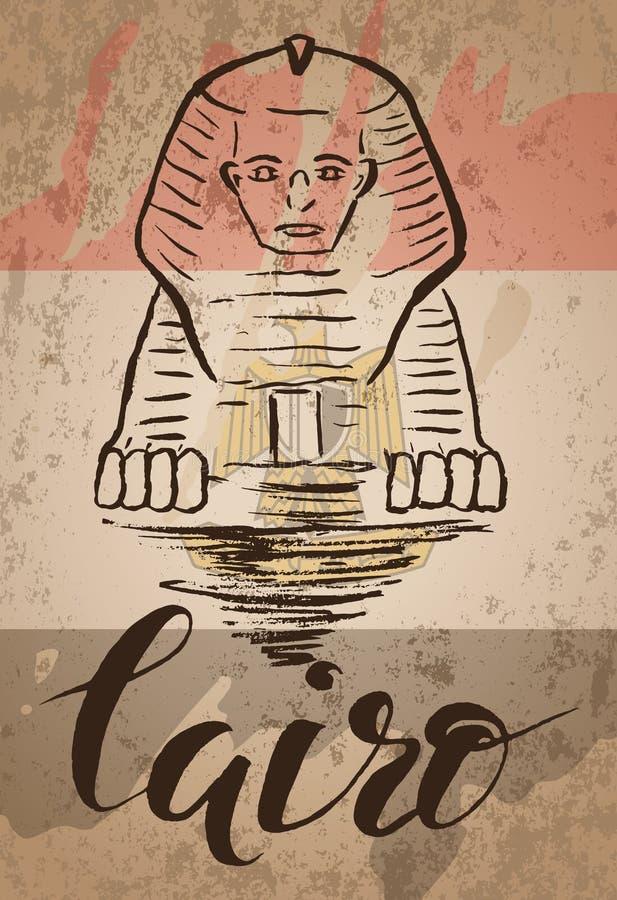 Kairoetikett med den hand drog sfinxen och att märka Kairo och den egyptiska flaggan royaltyfri illustrationer