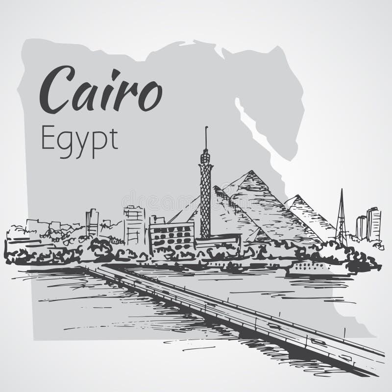 Kairotorn på flodNilen - horisont, Egypten skissa royaltyfri illustrationer