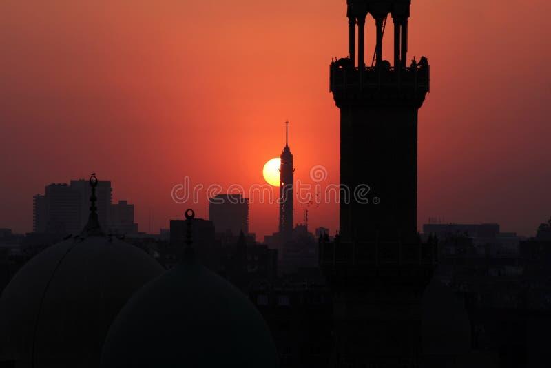 Kairotorn under solnedgång fotografering för bildbyråer