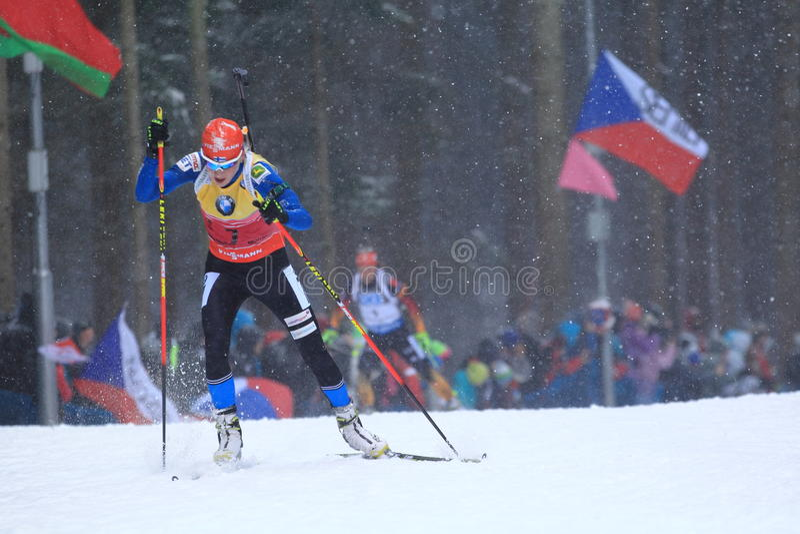 Kaisa Makarainen - biathlon royaltyfri fotografi