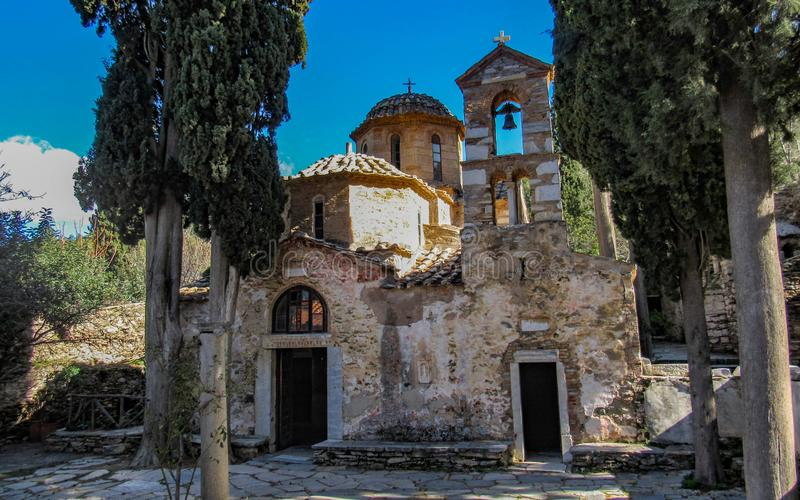 The Kaisariani Monastery an Eastern Orthodox holy place built on the north side of Mount Hymettus, near Athens, Greece. The Kaisariani Monastery an Eastern stock image