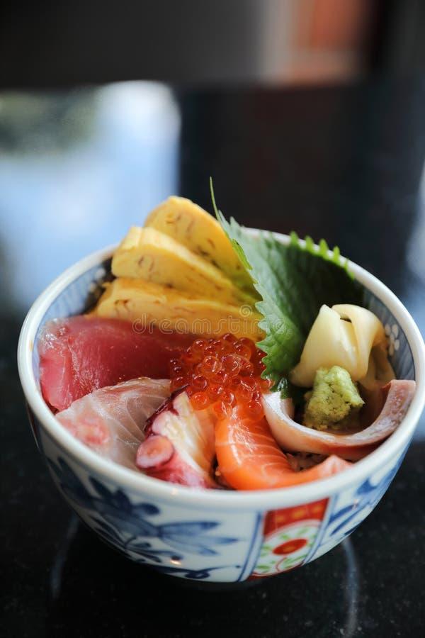Kaisen don , seafood rice bowl Japanese food stock image