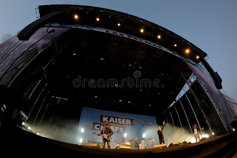 Kaiser Chiefs (band) in concert at FIB Festival. BENICASSIM, SPAIN - JUL 18: Kaiser Chiefs (band) in concert at FIB Festival on July 18, 2015 in Benicassim royalty free stock images