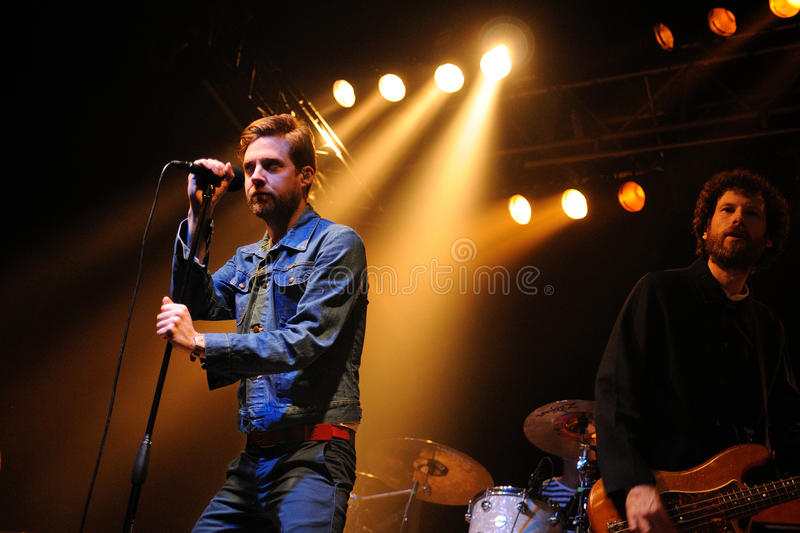 Kaiser Chiefs (British indie rock) performs at Razzmatazz Clubs. BARCELONA, SPAIN - FEB 15: Kaiser Chiefs (British indie rock) performs at Razzmatazz Clubs on royalty free stock images