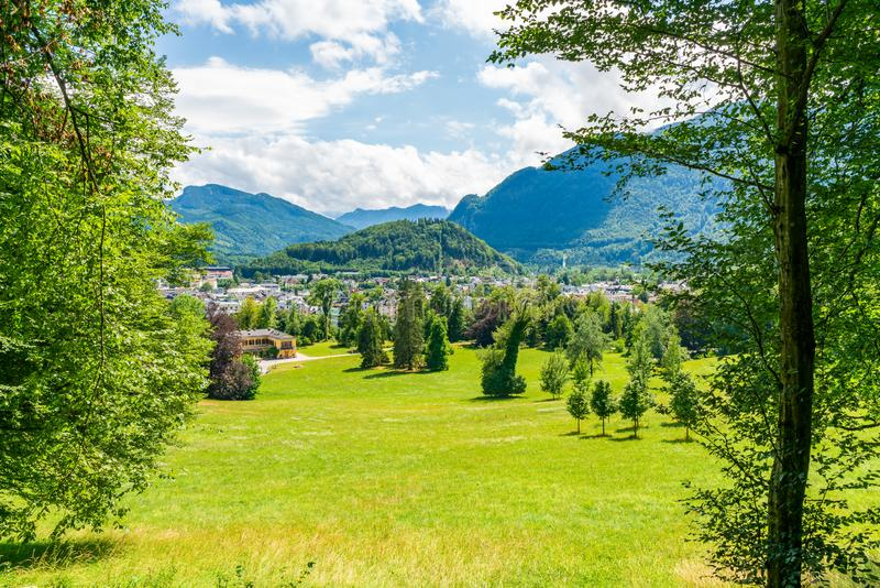 Kaiser park in Bad Ischl, Austria. BAD ISCHL, AUSTRIA - 07 JULY 2019: The Kaiser villa in Bad Ischl, Upper Austria, surrounded by a large park, was the summer stock photography