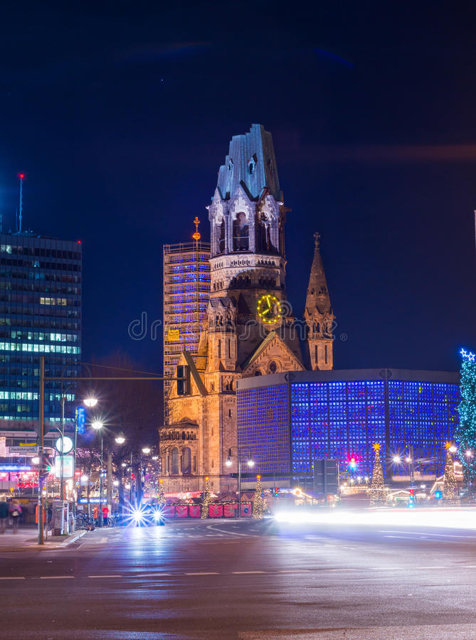 The Kaiser Wilhelm memorial church royalty free stock photography