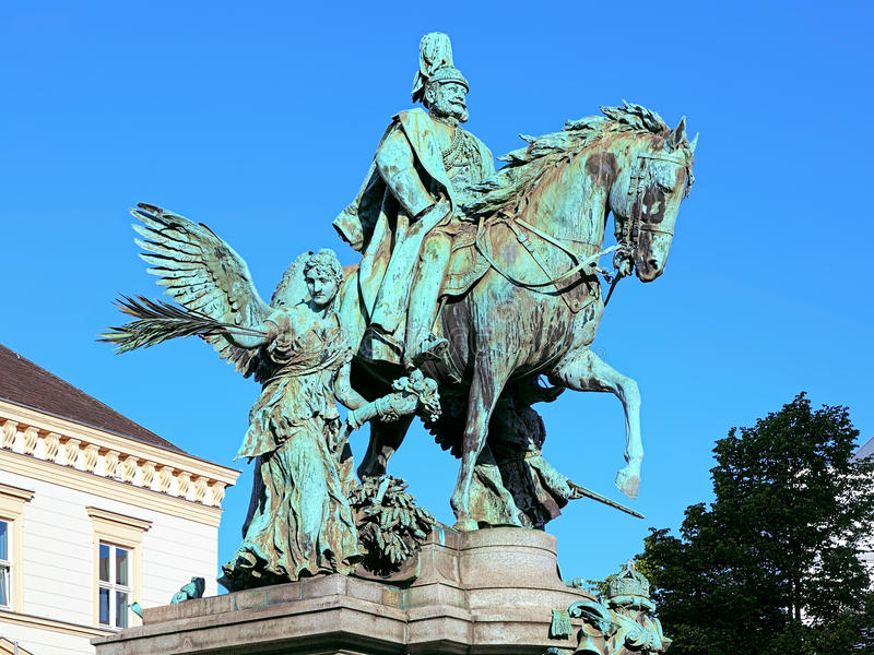 Kaiser Wilhelm Monument in Dusseldorf, Germany. The monument by the German sculptor Karl Janssen was unveiled on October 18, 1896 stock image