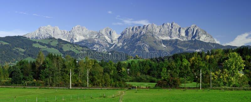 Wilder Kaiser, Tirol, Austria. Panorama scenery of Wilder Kaiser mountains in Tirol - Austria royalty free stock photo