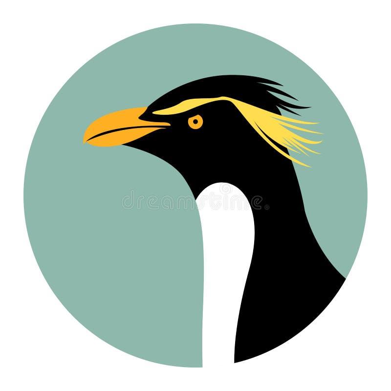 Kaiserpinguinkopf, Vektorillustration, flache Art, Profil lizenzfreie abbildung