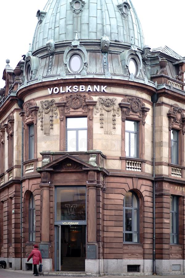 Volksbank Kaiserslautern. Kaiserslautern, Germany - January 26, 2019: The old and historic building of the Volksbank with a tower on January 26, 2019 in stock photography