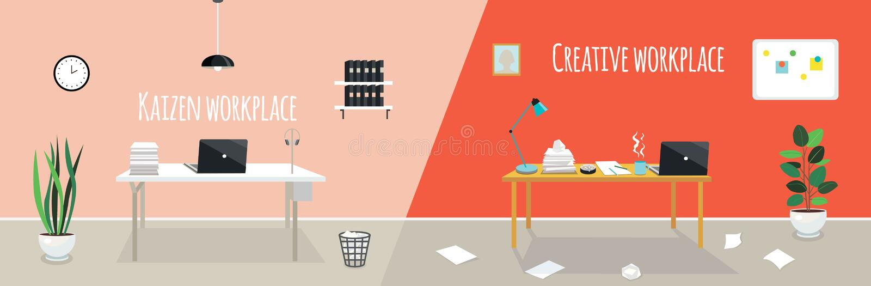 Kaizen-Arbeitsplatz gegen kreativen Arbeitsplatz lizenzfreie stockfotos