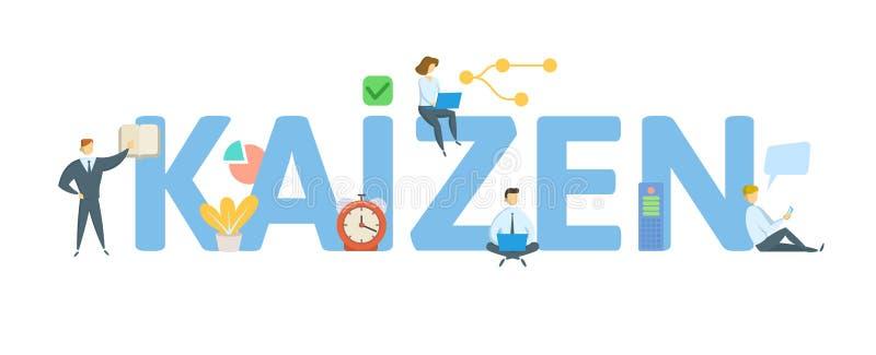 Kaizen Begrepp med folk, bokstäver och symboler Plan vektorillustration bakgrund isolerad white stock illustrationer