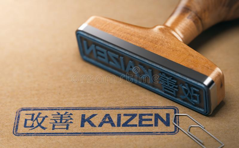 Kaizen Word, Continuous Improvement and Lean Manufacturing. 3D illustration of a rubber stamp with the text kaizen in English and Japanese language stamped on stock illustration