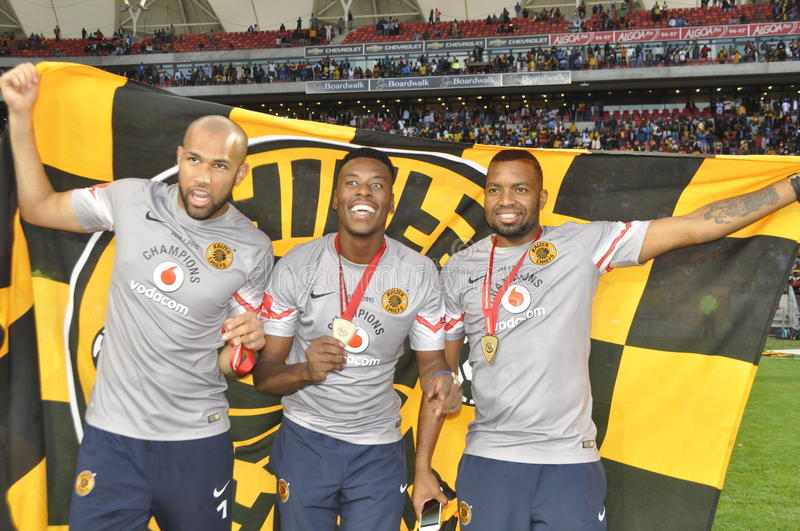 Kaizer chiefs -2015 league champions. Kaizer Chiefs played their last match at Nelson mandela Staduim. Finally the PSL trophy was handed over to Kaizer Chiefs royalty free stock images