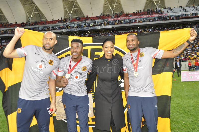 Kaizer chiefs -2015 league champions. Kaizer Chiefs played their last match at Nelson mandela Staduim. Finally the PSL trophy was handed over to Kaizer Chiefs stock image
