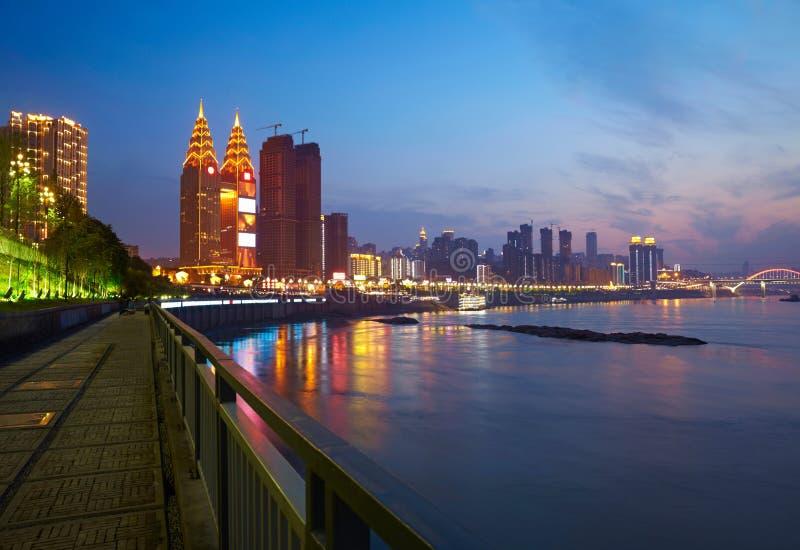 Kaj på Chongqing, Kina arkivbild