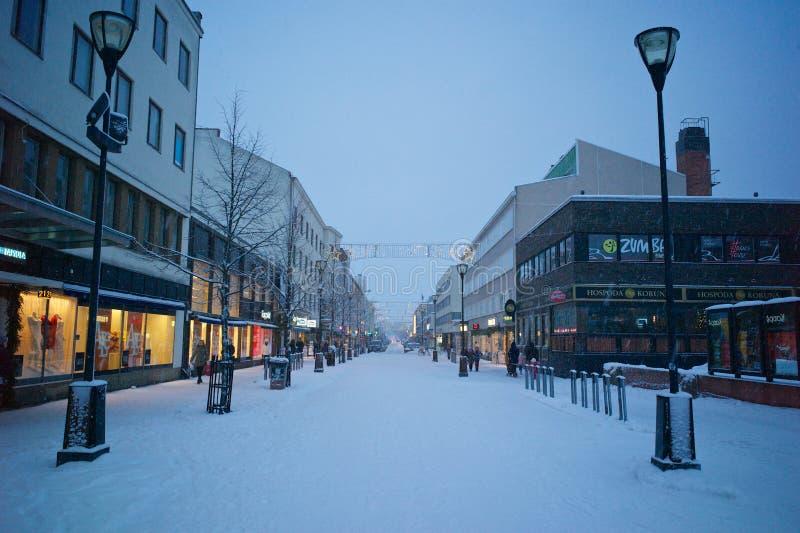 Kajaani miasteczko w Bożenarodzeniowej zimie zdjęcia stock