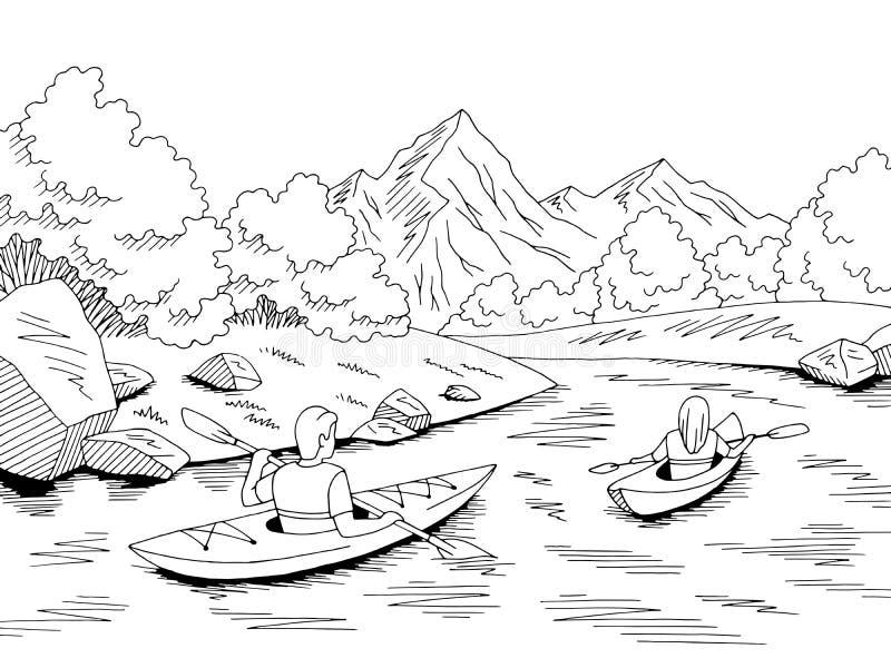 Kajak łódkowatej podróży rzeki krajobrazu nakreślenia ilustracji graficzny czarny biały wektor ilustracji