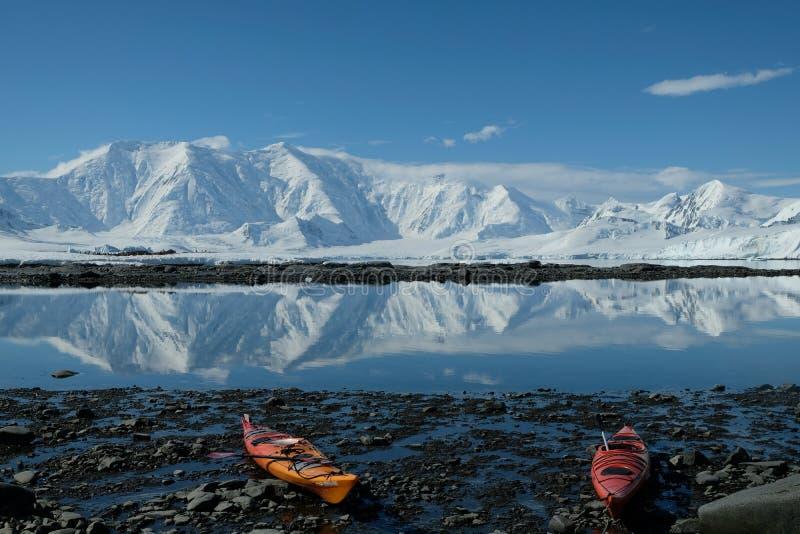 Kajak arancio e rossi dell'Antartide in una baia blu dello specchio fotografie stock libere da diritti
