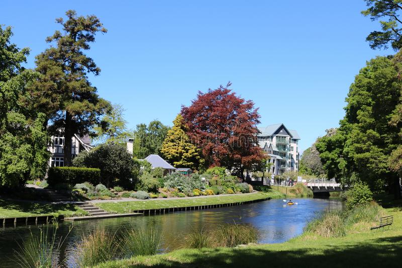 Kajak, Avon rzeka, Christchurch, Nowa Zelandia obrazy stock