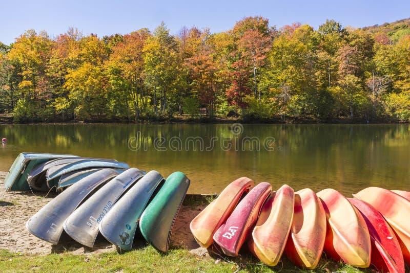 Kajak, canoe e barche di fila su poco stagno fotografia stock libera da diritti