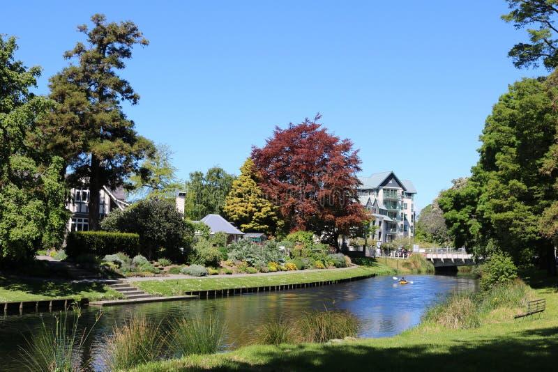 Kajak, de Rivier van Avon, Christchurch, Nieuw Zeeland stock afbeeldingen