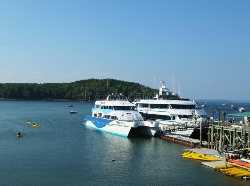 Kajak del mare e barche di sorveglianza della balena pronte per i turisti nel porto di Antivari, Maine fotografie stock libere da diritti