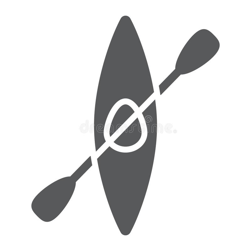 Kajak glyph pictogram, water en sport, rivier het rafting royalty-vrije illustratie
