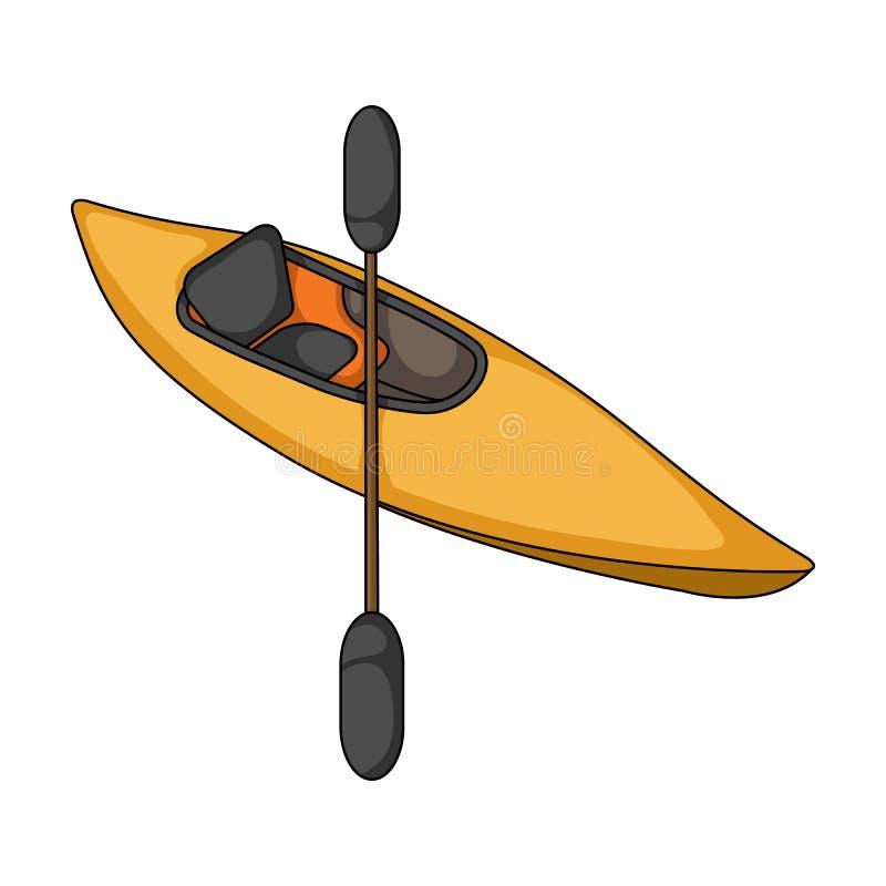 Kajak met roeispanen Extreem sport enig pictogram in van de het symboolvoorraad van de beeldverhaalstijl vector de illustratieweb royalty-vrije illustratie