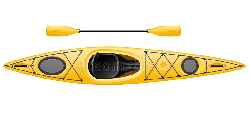 Kajak monoplaza con la paleta doble - opinión de top de la canoa libre illustration