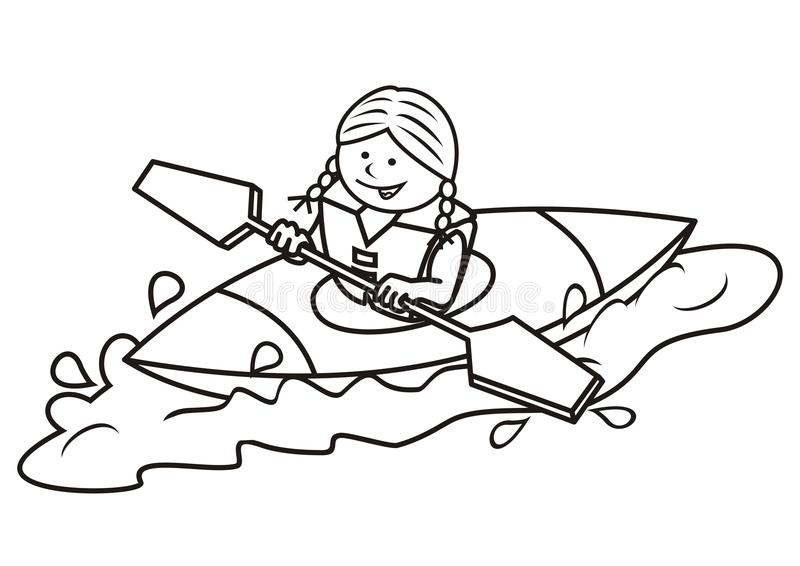 Kajak och flicka, färgläggningbok royaltyfri illustrationer