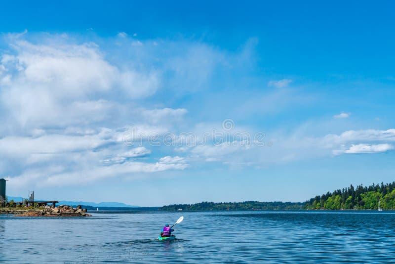 Kajak Puget Sound op Budd Inlet royalty-vrije stock fotografie