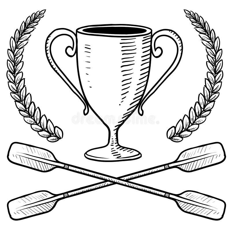 Kajakarstwa lub wodniactwo trofeum nakreślenie ilustracja wektor