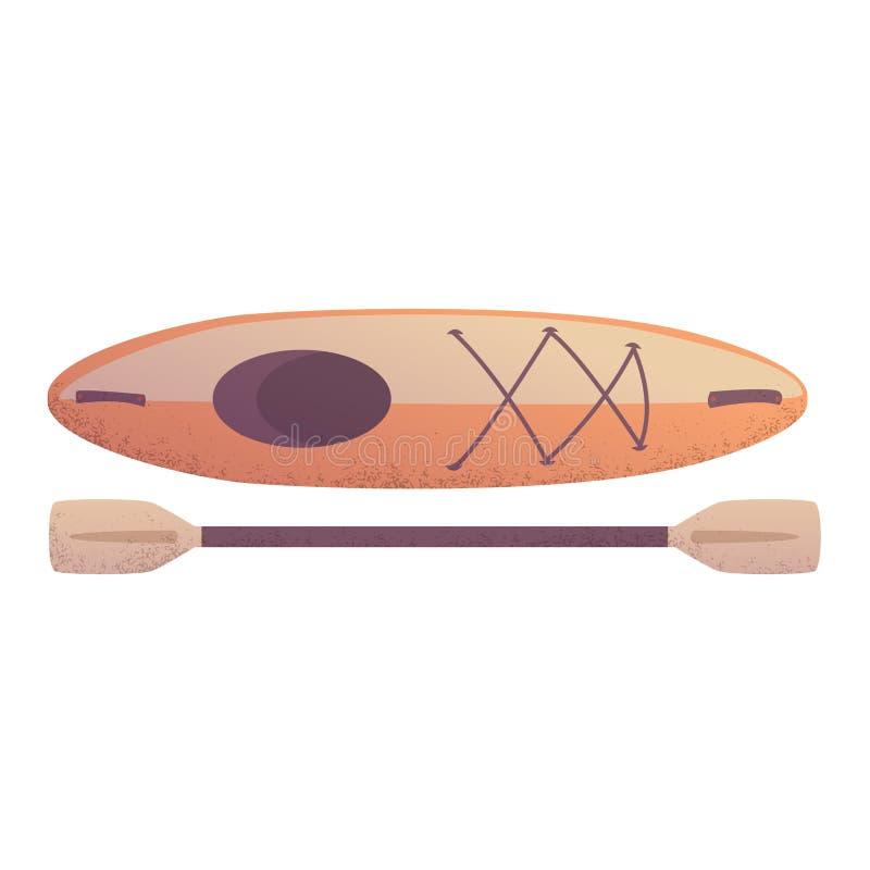 Kajakboot met de vectorillustratie van het peddelbeeldverhaal stock illustratie