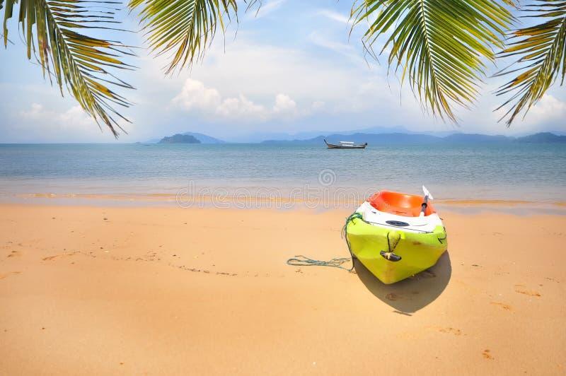 Kajakboot met kokosnotenpalmbladen op tropische strandachtergrond royalty-vrije stock fotografie