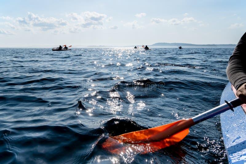 Kajaken går på en klar sjö med solsken på bakgrunden av ett fartyg med konturer av folk och en stenig kust på horisonten royaltyfri fotografi